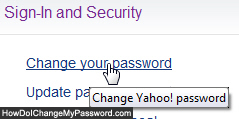 Change password for Yahoo Mail Classic