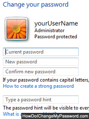 Change password screen and options for Windows Vista