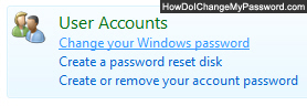 Click on Change your Windows password under User Accounts