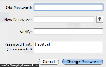 Enter new password and password hint in Mac OS X