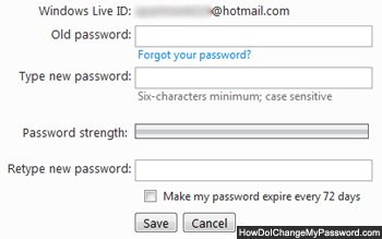 Enter current password and change to new Hotmail password