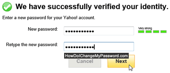 Type a new password for your Yahoo account